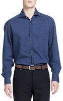Brunello Cucinelli Washed Denim Dotprint Shirt - Lyst