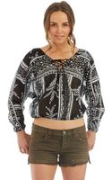 Free People Patterned Peasant Top - Lyst