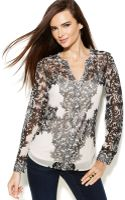 Inc International Concepts Printed Splitneck Longsleeve Top - Lyst