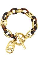 Michael Kors Tortoise Acetate and Golden Brass Toggle Link Bracelet - Lyst