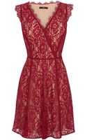 Oasis Lace Wrap Skater Dress - Lyst