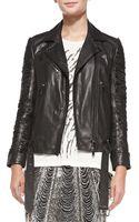 Haute Hippie Slash-sleeve Leather Moto Jacket Black X-small - Lyst