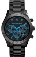 Michael Kors Ladies Layton Black Plated and Neon Blue Chronograph Watch - Lyst