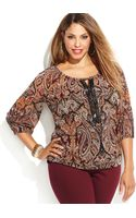 Inc International Concepts Plus Size Beaded Printed Keyhole Top - Lyst