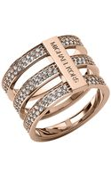 Michael Kors Rose Goldtone Crystal Tiered Ring - Lyst