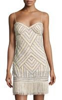 Aidan Mattox Beaded Cocktail Dress W Fringe Hem - Lyst