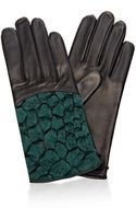 Nina Ricci Crocdetail Leather Gloves - Lyst