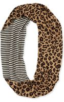 Tory Burch Leopard-print  Striped Infinity Scarf - Lyst