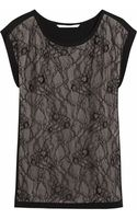Diane Von Furstenberg Cordelia Lace Paneled Crepe Top - Lyst