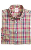 Brooks Brothers Regular Fit Pink with Green Sport Shirt - Lyst