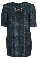 River Island Blue Metallic Metal Plate Tunic Dress - Lyst