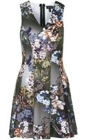 Topshop Floral Raw Seam V-neck Dress - Lyst