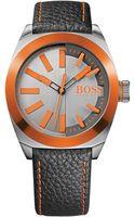 Boss Orange Hugo Boss Mens London Black Leather Strap Watch 42mm - Lyst