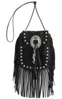 Saint Laurent Fringed Leather Shoulder Bag - Lyst