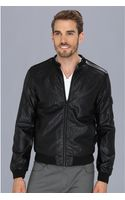Calvin Klein Jeans Tonal Faux Leather and Jersey Blocking Jacket - Lyst