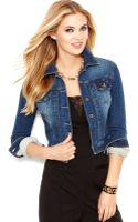 Guess Cropped Jean Jacket Passion Flower Wash - Lyst