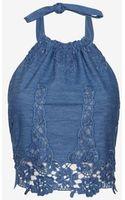 Miguelina Exclusive Crochet Chambray Handkerchief Top - Lyst