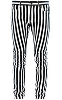Saint Laurent Striped Five Pocket Skinny Jeans - Lyst