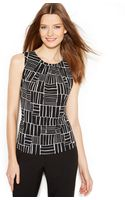 Calvin Klein Petite Printed Pleatneck Top - Lyst
