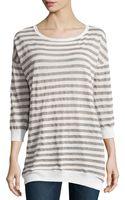 Halston Heritage Striped Linen Blend Sweater - Lyst
