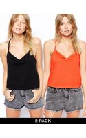 Asos Cropped Cami Top with V Neck 2 Pack Save 20 - Lyst