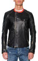 DSquared2 Leather Moto Jacket with Orange Collar Black - Lyst