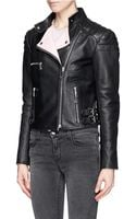 McQ by Alexander McQueen Leather Cropped Biker Jacket - Lyst