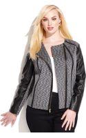 Calvin Klein Plus Size Fauxleathertrim Moto Jacket - Lyst