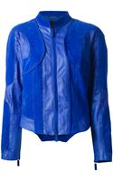 Giorgio Armani Perforated Leather Jacket - Lyst