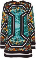 Elie Saab Printed Stretch Cady Long Sleeve Mini Dress - Lyst