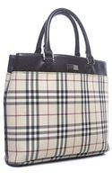Burberry Pre-owned Nova Check Black Leather Tote Bag - Lyst