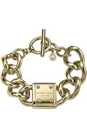 Michael Kors Goldtone Padlock Link Bracelet - Lyst