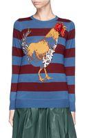 Stella Jean Camelia Beaded Rooster Intarsia Stripe Wool Sweater - Lyst