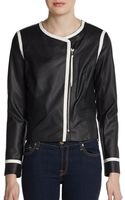 Ellen Tracy Faux Leather Cropped Jacket - Lyst