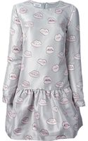 Au Jour Le Jour Lip Print Flared Dress - Lyst