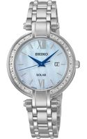 Seiko Womens Solar Diamond Accent Stainless Steel Bracelet Watch 30mm Sut181 - Lyst