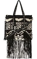 River Island Black Fringed Tapestry Tote Bag - Lyst