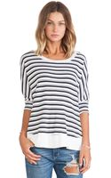 Splendid Navy Stripe Thermal Top - Lyst