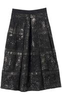 Rebecca Taylor Foil Lace Midi Skirt - Lyst