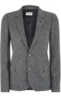 Saint Laurent Shetland Tweed Jacket - Lyst