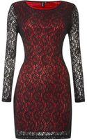 Izabel London Lace Shift Dress with Contrast Underlay - Lyst