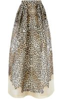 Temperley London Leopard Silk Long Lepid Skirt - Lyst