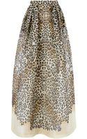 Temperley London Leopard Silk Long Lepid Skirt - Lyst