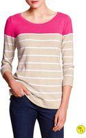 Banana Republic Factory Colorblock Sweater Oatmeal Stripe - Lyst
