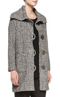 Caroline Rose Long Tweed Button-front Coat - Lyst