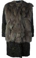 MSGM Contrasting Fur Coat - Lyst