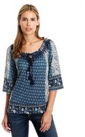Lucky Brand Emery Mixed Print Smocked Top - Lyst