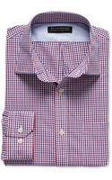 Banana Republic Tailored Slim Fit Non Iron Micro Check Shirt Modern Red - Lyst