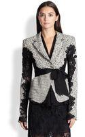 Donna Karan New York Belted Tweed  Lace Jacket - Lyst