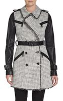 Rachel Zoe Tweed Leather Trench Coat - Lyst